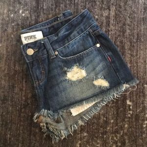VS Pink Distressed Denim Shorts